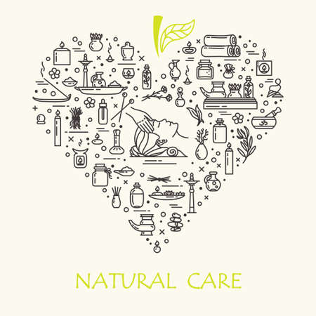 Vector illustration - Natural care. Icons set and poster. EPS 10 Isolated objects Illustration