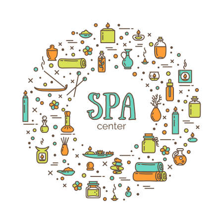 Vector illustration - SPA center. Icons set and poster. EPS 10 Isolated objects
