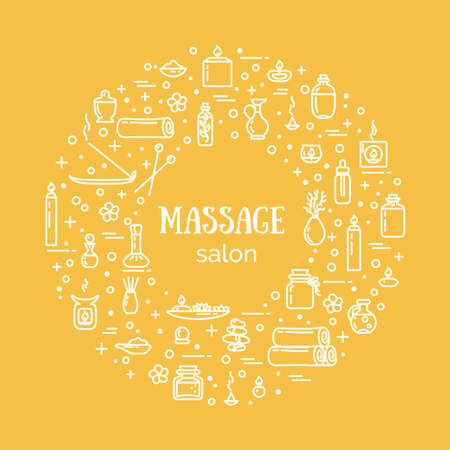 Vector illustration - Massage salon. Icons set and poster. EPS 10 Isolated objects