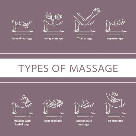 Tipi di massaggio icone. EPS 10 Tutti gli oggetti isolati