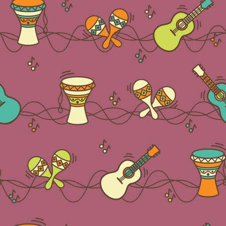 Seamless pattern - ethnic music. Background illustration. EPS 10. Illustration