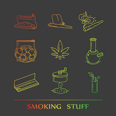 bong: Set of icons in thin line style. EPS 10 Isolated objects Illustration