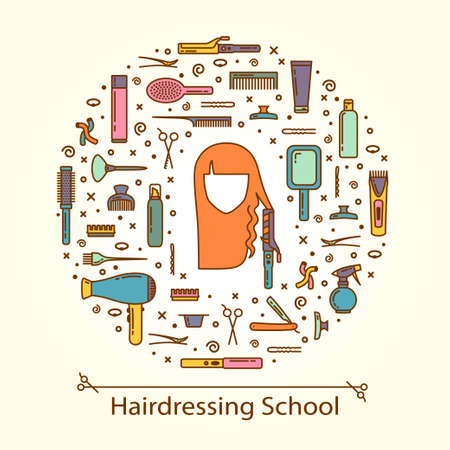 Vector illustration - hairdressing school. EPS 10 Isolated object