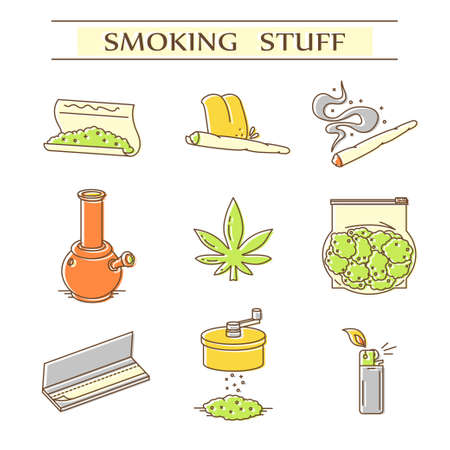 Set of icons in thin line style. EPS 10 Isolated objects Illustration