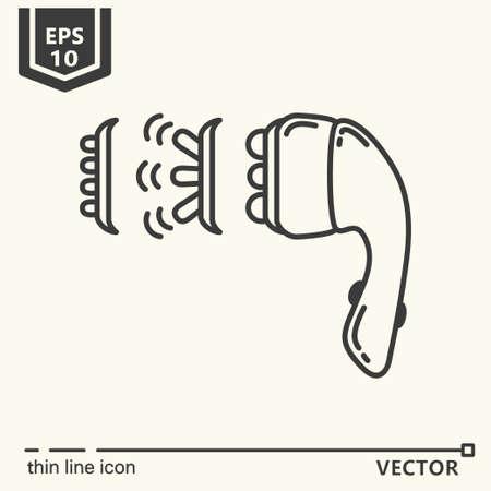 vibrating: Thin line icon - Massage tool. EPS 10 Isolated object