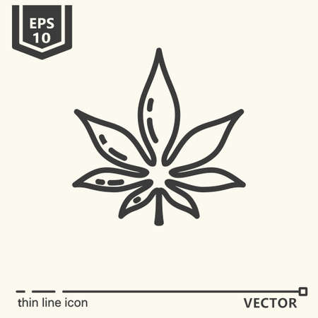 Thin line icon - cannabis. EPS 10 Isolated object