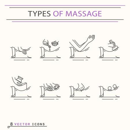 Soorten massage, iconen. EPS 10 Geïsoleerde objecten Stock Illustratie