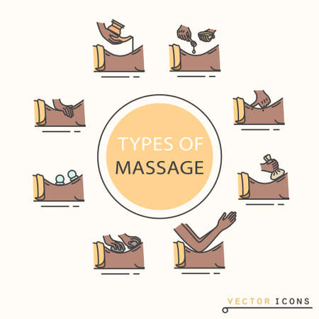 Types of massage, icons. EPS 10 Isolated objects
