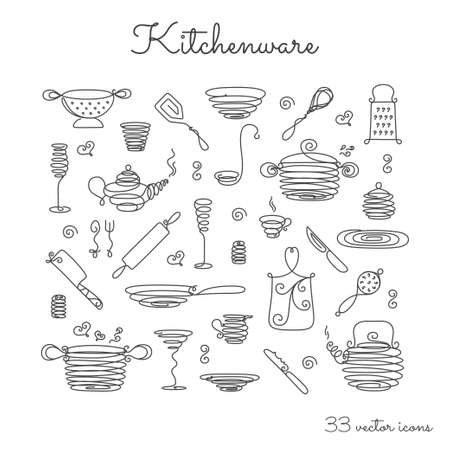 attribute: Thin line icons - kitchenware. EPS 10 Isolated object