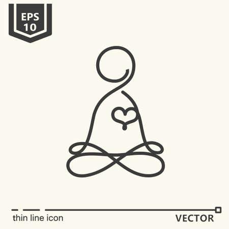 Thin line icon - Meditator. EPS 10 Isolated object Illustration