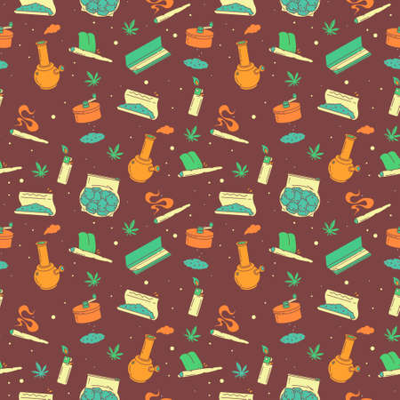A series of seamless patterns - Smoking stuff. Background illustration EPS 10