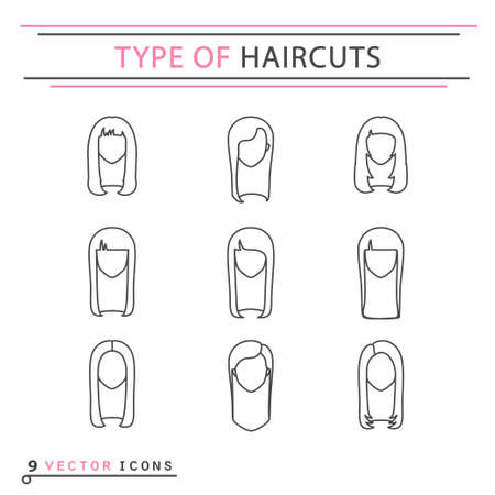 Thin line icon - Type of haircuts. EPS 10 Isolated object Illustration