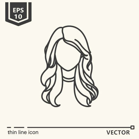 Thin line icon - girl. EPS 10 Isolated object