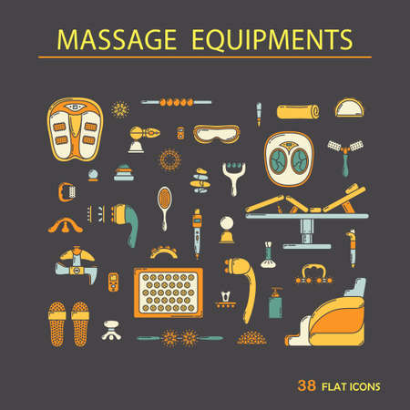 attribute: Massage appliance - Icon set. EPS 10 Isolated object