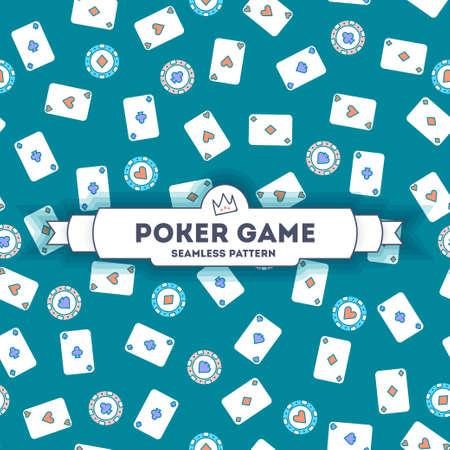 Poker game. Vector seamless pattern. line art style. EPS 10