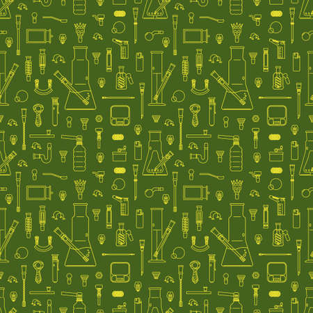 Smoking weed theme, vector seamless pattern. Serious stuff - series. 39 different objects. in lineart style. isolated objects. EPS 10.