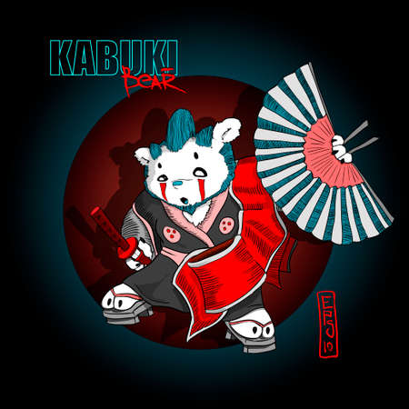 Kabuki bear, spirit of samurai, personage, bear with makeup on face, with sword and fan in hands, possible use this dope vector illustration for t-shorts or stickers, label, poster etc. EPS 10
