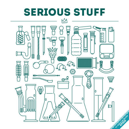 bong: Vector illustration of 39 objects in lineart style. EPS 10. Isolated object.