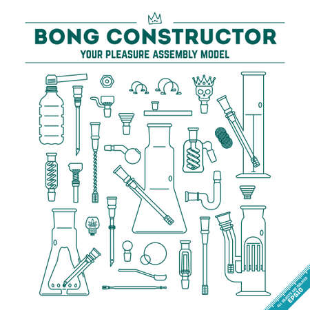 bong: Vector illustration of 30 objects in lineart style. EPS 10. Isolated object. Illustration