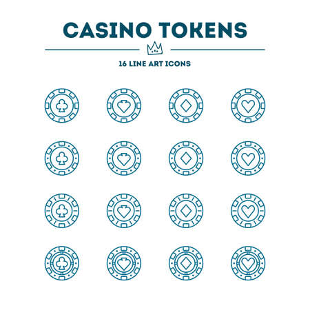 Casino tokens. Vector icon set. 16 objects. All objects are Isolated Illustration