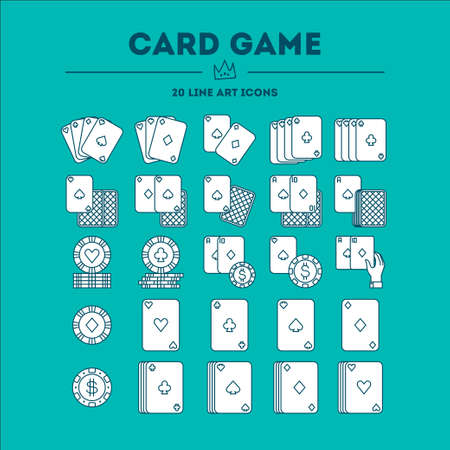 Card Game vector icon set. 20 objects. All objects are Isolated.