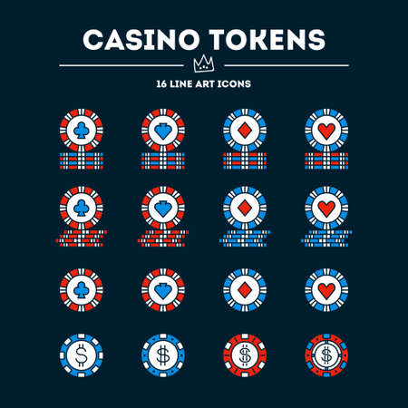 Casino tokens. Vector icon set. 16 objects. All objects are Isolated Illusztráció