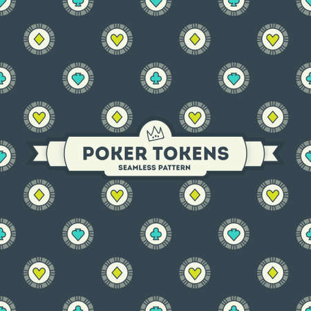 Poker tokens. Vector seamless pattern. 4 objects. line art style EPS 10 Illustration
