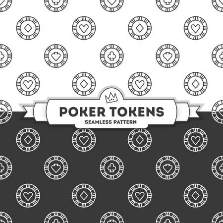 Poker tokens. Vector seamless pattern. 4 objects. line art style EPS 10 Illusztráció