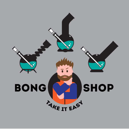 Vector icon set for bong shop. 3 isolated objects and beard dude who need make a choice, all in flat style. EPS 10.