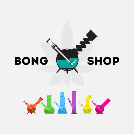 Vector icon set. 6 isolated objects and one logo for your bong shop. All in flat syle, lovely bright and stylish.