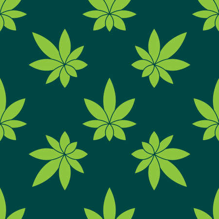 Vector seamless pattern - hemp leafs. isolated objects. EPS 10