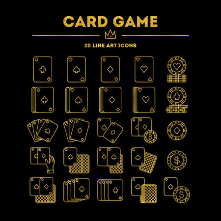 Card Game, vector icon set. Golden gradient edition with glitter. 20 objects. All objects are Isolated.