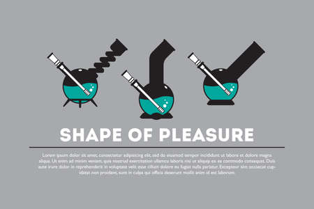 shisha: Vector icon set - shape of pleasure. 3 isolated objects in flat style. EPS 10.