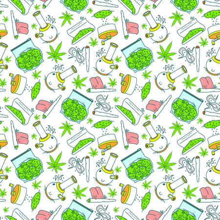 What to do if you got a weed - series. Vector seamless pattern. 7 objects. Line art style. EPS 10 Illustration