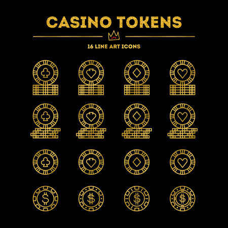 Casino tokens. Gold gradient edition with glitter. Vector icon set. 16 objects. All objects are Isolated. Illustration
