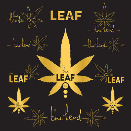 The leaf. Vector logo set. 11 objects. All objects are Isolated
