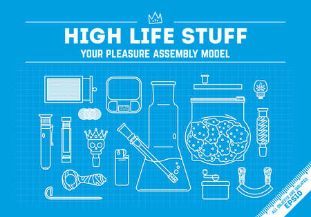 A Smoking weed theme, vector illustration. High life stuff - series. 16 different objects. line art style. isolated objects. EPS 10