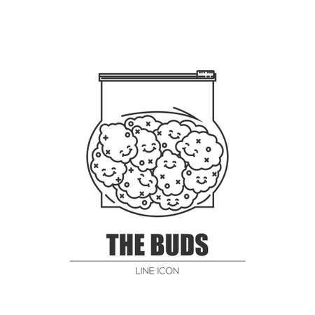Weed buds in a plastic bag Stock Vector - 83235492
