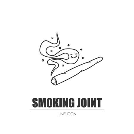 Smoking weed joint. Illustration