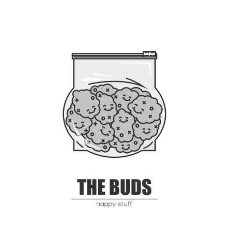 Weed duds in plastic bag. Çizim