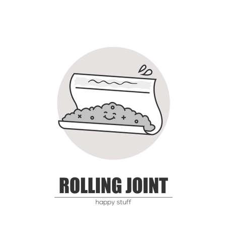 Rolling a joint. Ilustração