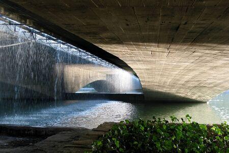 esfahan: Curtain of  water, shadow, light: Bridge, Esfahan