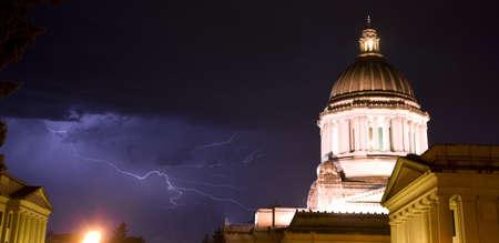 A rare thunderstorm for the Olympia Washington Area Stock Photo - 14487983