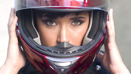 Girl on Motorcycle photo