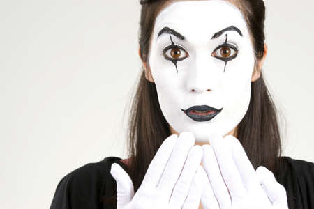 Megan in White Face saying oops Reklamní fotografie