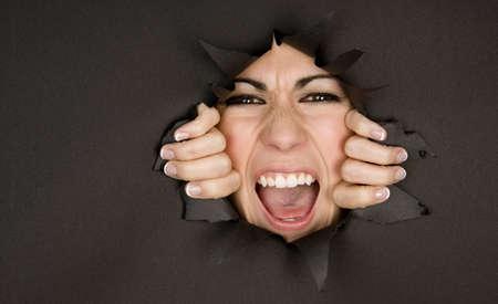 crazy girl breaks through hole