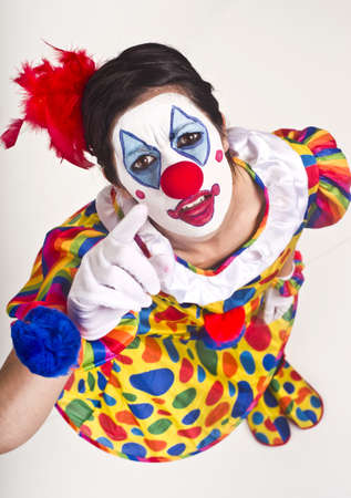 Woman Clown Performer points up at the camera and the viewer Stock Photo - 14593309