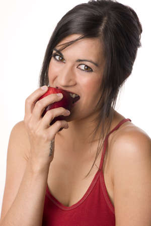 Beautiful Brunette with Apple Stock Photo - 14593319