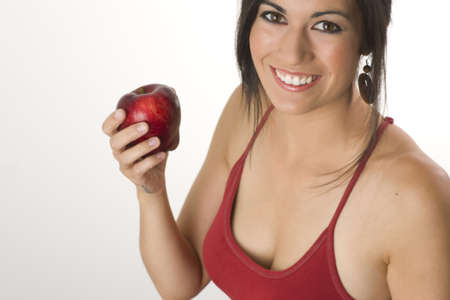 sisters sexy: Beautiful Brunette with Apple Stock Photo