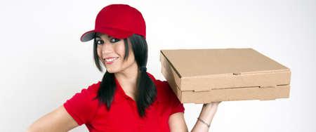 caja de pizza: Pizza Delivery Foto de archivo